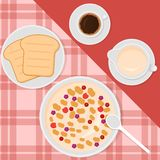 Breakfast top view vector illustration in flat style with muesli or oatmeal, milk, coffee and toasts. Breakfast top view vector illustration in flat style with stock illustration