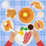 Breakfast top view vector illustration in flat style with scrambled eggs, bacon, pancakes, coffee and sweets. royalty free illustration