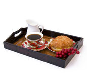 Breakfast tray. With coffee, isolated Royalty Free Stock Image