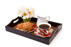 Breakfast tray. With coffee, isolated Royalty Free Stock Photos