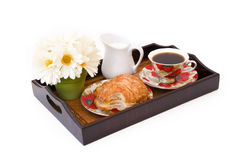 Breakfast tray. With coffee, isolated Stock Image