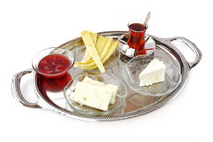 Breakfast tray. With tea isolated on white Stock Image