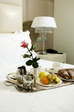 Breakfast Tray. In Hotel Room Stock Photography