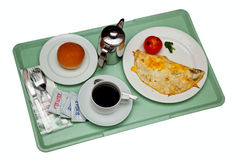 Breakfast on a tray. Isolated on white background Stock Image