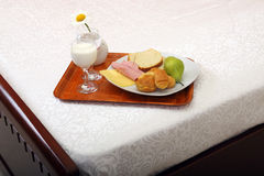 Breakfast tray on bed. Breakfast tray served on bed Royalty Free Stock Photography