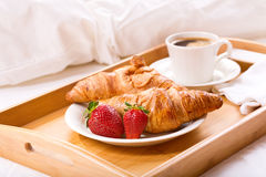 Breakfast tray served in bed Royalty Free Stock Photography