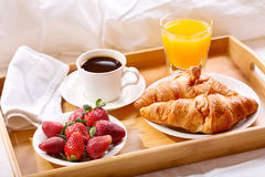 Breakfast tray served in bed Stock Photography