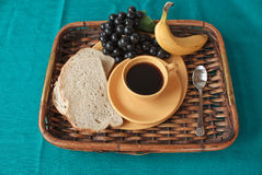 Breakfast on a tray with Turquoise textile royalty free stock photos