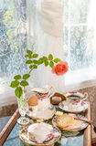Breakfast in a tray by the window. Stock Photography