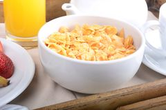 Free Breakfast Tray With Orange Juice, Cereals And Fruits. Royalty Free Stock Image - 100596366