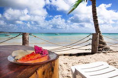 Breakfast in a Tropical Beach Stock Photography