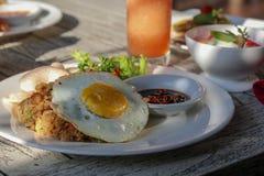 Breakfast in tropical resort in Bali. Exotic summer diet. Tropic stock image