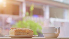 Breakfast tuna pie with black coffee Stock Photography