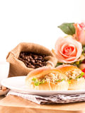 Breakfast tuna sandwich and coffee Royalty Free Stock Image