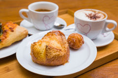 Breakfast for two at the bakery Stock Photo
