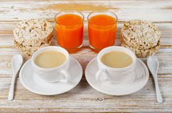 Breakfast with two   coffee cup Stock Images