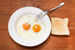 Breakfast with two fried eggs in white plate Stock Image