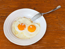 Breakfast with two fried eggs in white plate Royalty Free Stock Photo