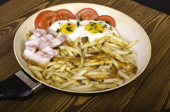 Breakfast for two. Frying pan with two fried eggs and fried pota Royalty Free Stock Image