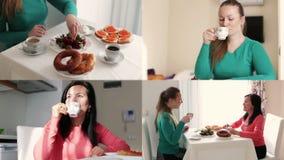 Breakfast two girlfriends Multiscreen footage. Two friends drink coffee at breakfast, chatting stock video