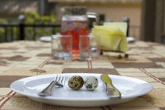 Quail eggs on plate. Breakfast. two quail eggs in a white plate macro Stock Photos