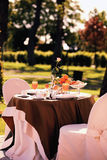 Breakfast for two. Table set for an outdoor breakfast stock photo
