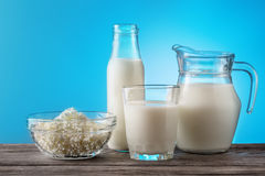 Breakfast with useful dairy products on wooden table Stock Photo