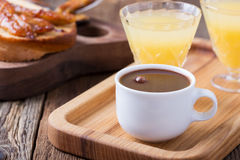 Breakfast on Valentine`s Day, coffee, toast and juice Royalty Free Stock Photo