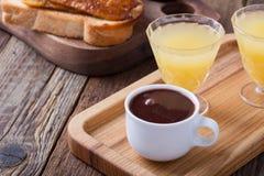 Breakfast on Valentine`s Day, coffee, toast and juice Stock Photo