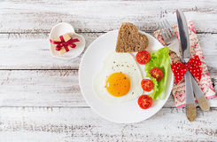 Breakfast on Valentine's Day - fried eggs Stock Photo