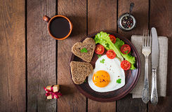 Breakfast on Valentine's Day - fried eggs Stock Photos