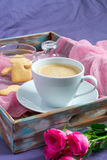 Breakfast Valentine`s Day. Tray with coffee and biscuits. Stock Photography
