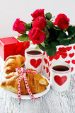 Breakfast for Valentines's Day on February 14 with romantic tabl Stock Photo