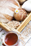 Breakfast with variety of bread and rolls Royalty Free Stock Image
