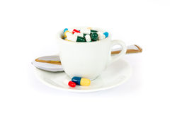 Breakfast with various pills Stock Image