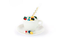 Breakfast with various pills. Breakfast with various colorful pills Stock Photos
