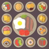 Breakfast vector icons set. Breakfast set, food icons, restaurant and menu. Flat design vector Royalty Free Stock Photography