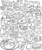 Breakfast. Vector illustration of breakfast collection in line art mode Stock Photos