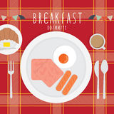 Breakfast. Vector illustration of meal. Breakfast on a plaid tablecloth royalty free illustration