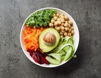 Breakfast vegan bowl. For healthy eating on gray table, top view royalty free stock image