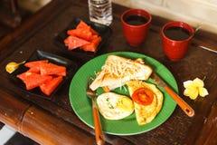 Breakfast on veranda on vacation Stock Image