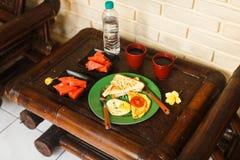 Breakfast on veranda on vacation stock photography