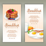 Breakfast 2 vertical banners set. Full standard breakfast menu variants 2 flat vertical banners set with fried eggs abstract isolated vector illustration Royalty Free Stock Photos