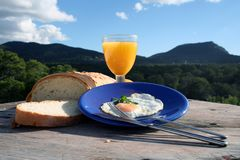 Breakfast, very healthy. Breakfast on wooden table Stock Photo
