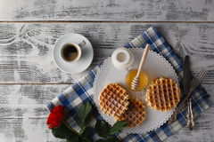 Breakfast with Viennese wafers Royalty Free Stock Photos