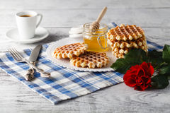 Breakfast with Viennese wafers Royalty Free Stock Photo