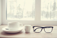 Breakfast. Vision glasses on table in cafe Stock Photos