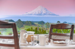 Breakfast volcano view Royalty Free Stock Photography