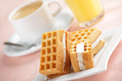 Breakfast with wafers Stock Photo
