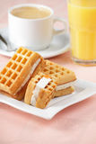 Breakfast with wafers Royalty Free Stock Image